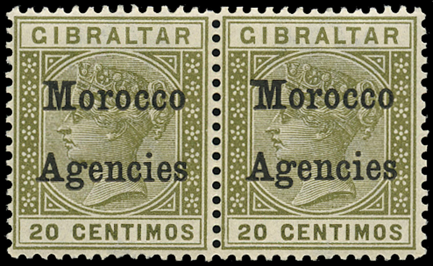 MOROCCO AGENCIES 1899  SG11b Mint QV 20c olive-green variety Broad top to M