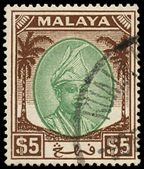 MALAYA - PAHANG 1950  SG73 Used $5 green and brown