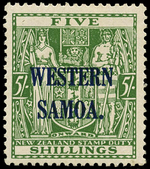 SAMOA 1941  SG194a Mint unmounted 5s green on Wiggins Teape paper