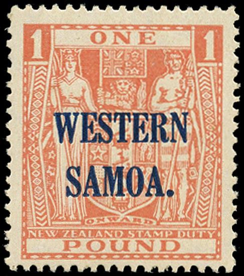 SAMOA 1945  SG210 Mint unmounted £1 pink watermark multiple NZ and star