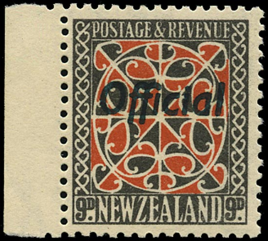 NEW ZEALAND 1936  SGO129 Official 9d red and grey-black perf 13½x14 unmounted mint