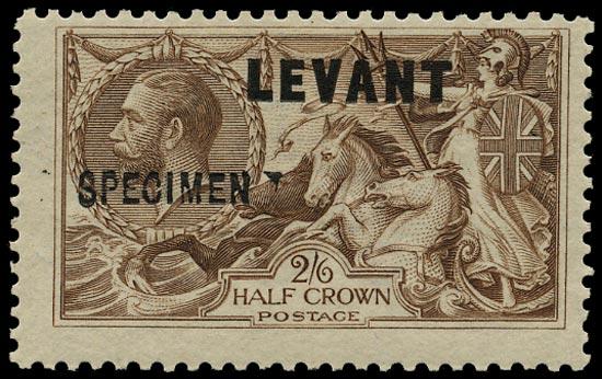 BRITISH LEVANT 1921  SGL24s Specimen KGV 2s6d chocolate-brown with type GB26 overprint