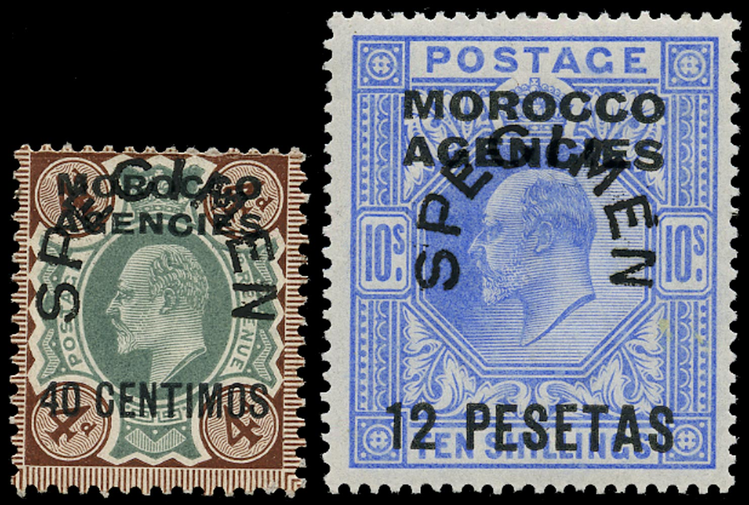 MOROCCO AGENCIES 1907  SG117s, 123s Specimen KEVII Spanish Currency 40c on 4d and 12p on 10s