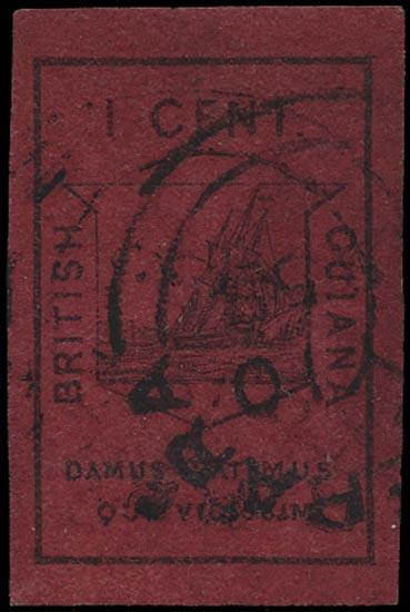 BRITISH GUIANA 1852  SG9 Used 1c black on magenta