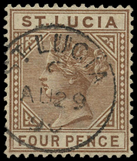 ST LUCIA 1883  SG34a Used 4d brown watermark CA die I variety Top left triangle detached
