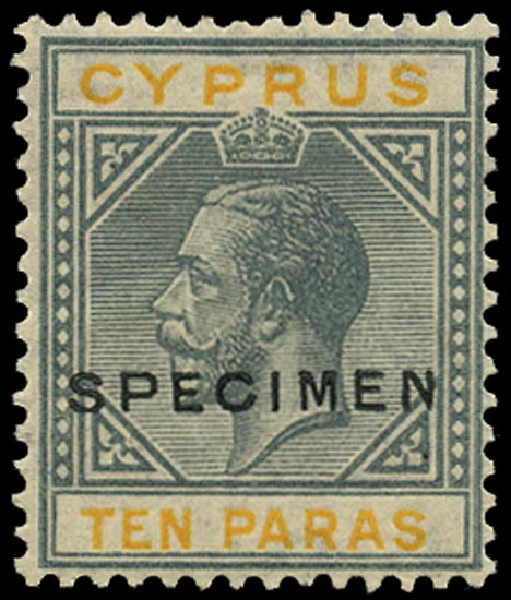 CYPRUS 1921  SG86as Specimen KGV 10pa grey and yellow Script watermark variety Broken bottom left triangle