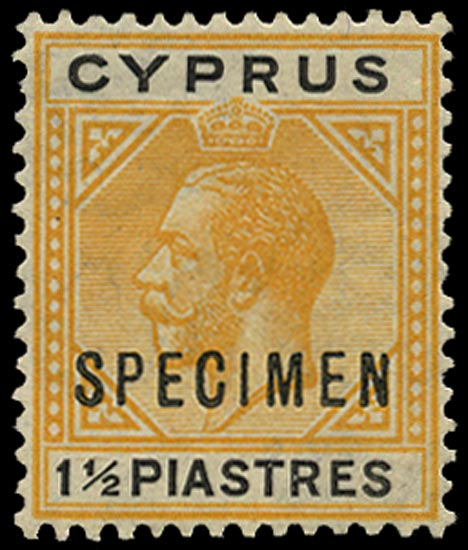 CYPRUS 1921  SG91as Specimen KGV 1½pi yellow and black Script watermark variety Broken bottom left triangle