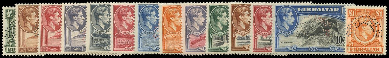 GIBRALTAR 1938  SG121s/31s Specimen KGVI set of 14 to £1
