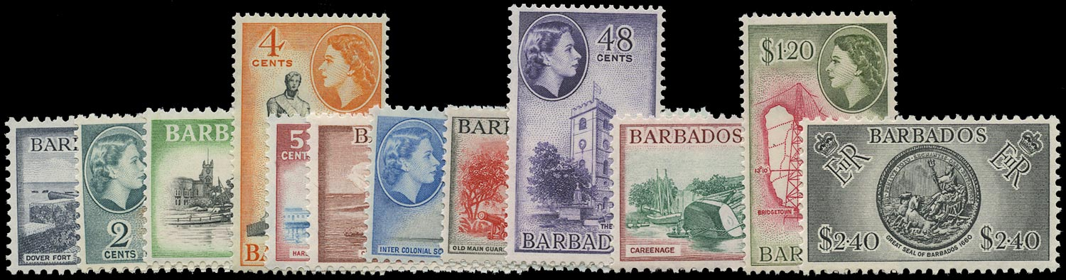 BARBADOS 1953  SG289/301 Mint unmounted QEII set of 13 to $2.40