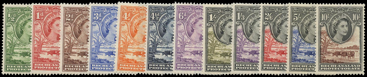 BECHUANALAND 1955  SG143/53 Mint unmounted QEII set of 12 to 10s