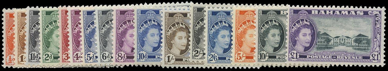 BAHAMAS 1954  SG201/16 Mint unmounted QEII set of 16 to £1