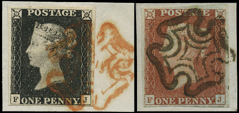 GB 1840  SG2, 7 Pl.1b Penny Black VFU Matched pair