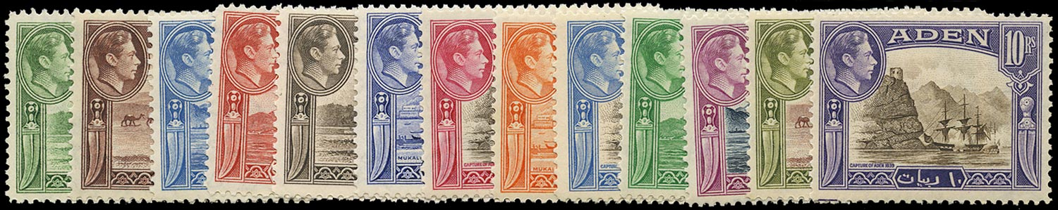 ADEN 1939  SG16/27 Mint unmounted KGVI set of 13 to 10r