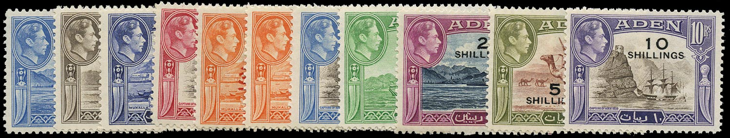 ADEN 1951  SG36/46 Mint unmounted New currency surcharges set of 11 to 10s on 10r