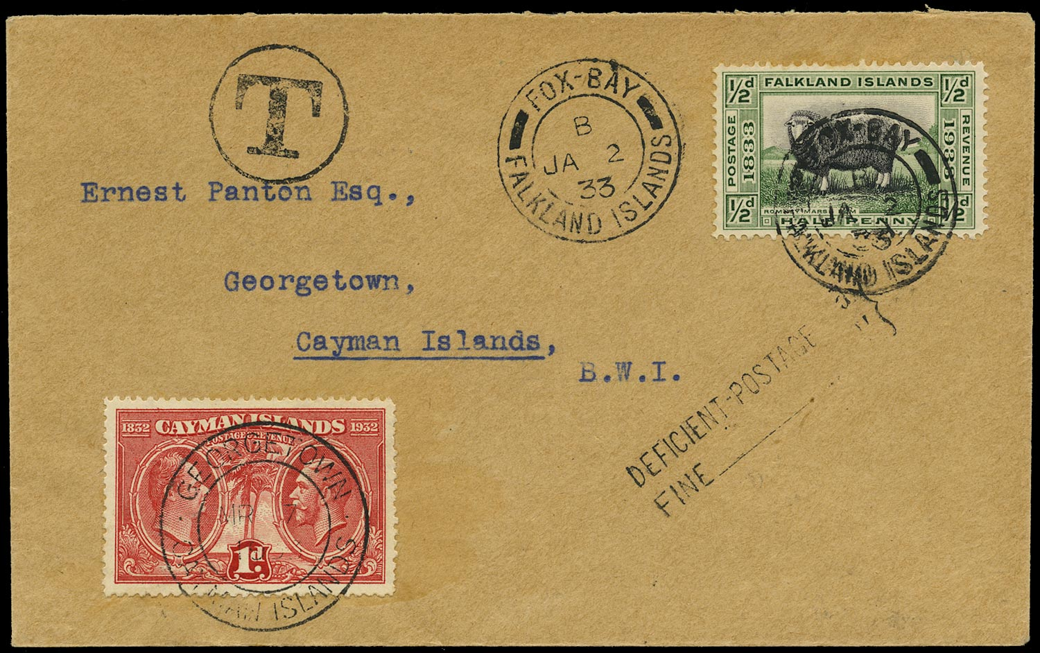 FALKLAND ISLANDS 1933  SG127 Cover from Fox Bay to Cayman Islands with Centenary ½d sheep