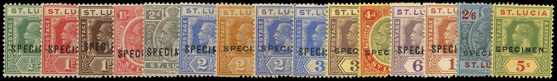 ST LUCIA 1921  SG91s/105s Specimen KGV set of 15 to 5s Script watermark