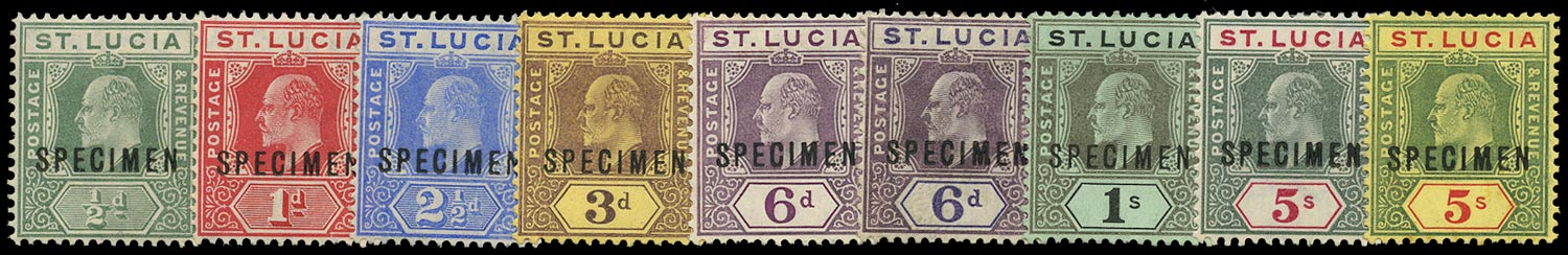ST LUCIA 1904  SG65s/77s Specimen KEVII set of 9 to 5s (both)