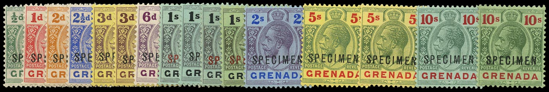 GRENADA 1913  SG89s/101as Specimen KGV set of 16 to 10s watermark MCA