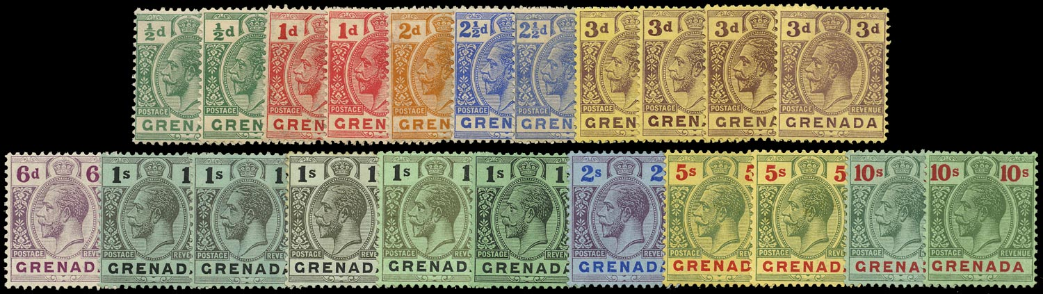 GRENADA 1913  SG89/101a Mint KGV set of 22 to 10s watermark MCA