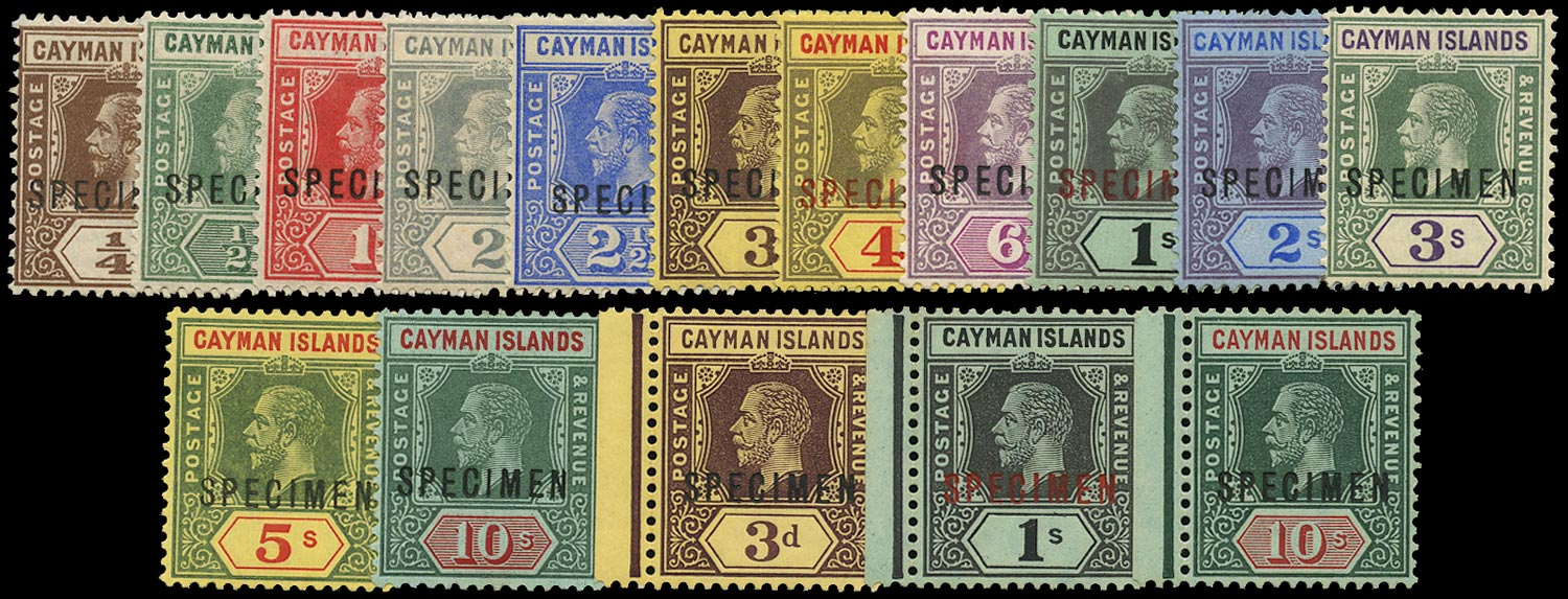 CAYMAN ISLANDS 1912  SG40/52as Specimen KGV set of 16 to 10s watermark MCA including 3s with variety Broken M