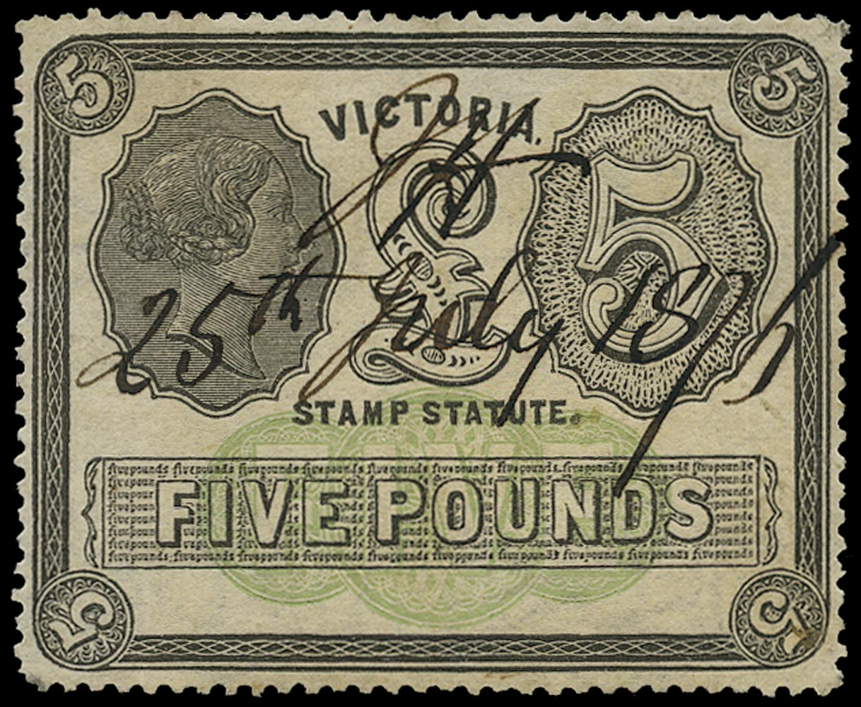 VICTORIA (AUS) 1884  SG233var Revenue Stamp Statute £5 black and yellow-green