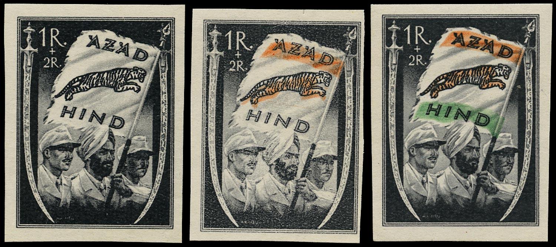INDIA 1943 Mint Azad Hind 1r +2r black set of 3