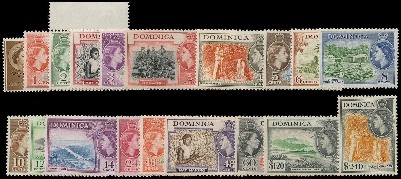 DOMINICA 1954  SG140/58 Mint