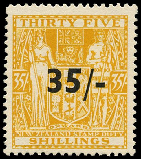 NEW ZEALAND 1939  SGF186 Postal Fiscal 35s on 35s orange-yellow