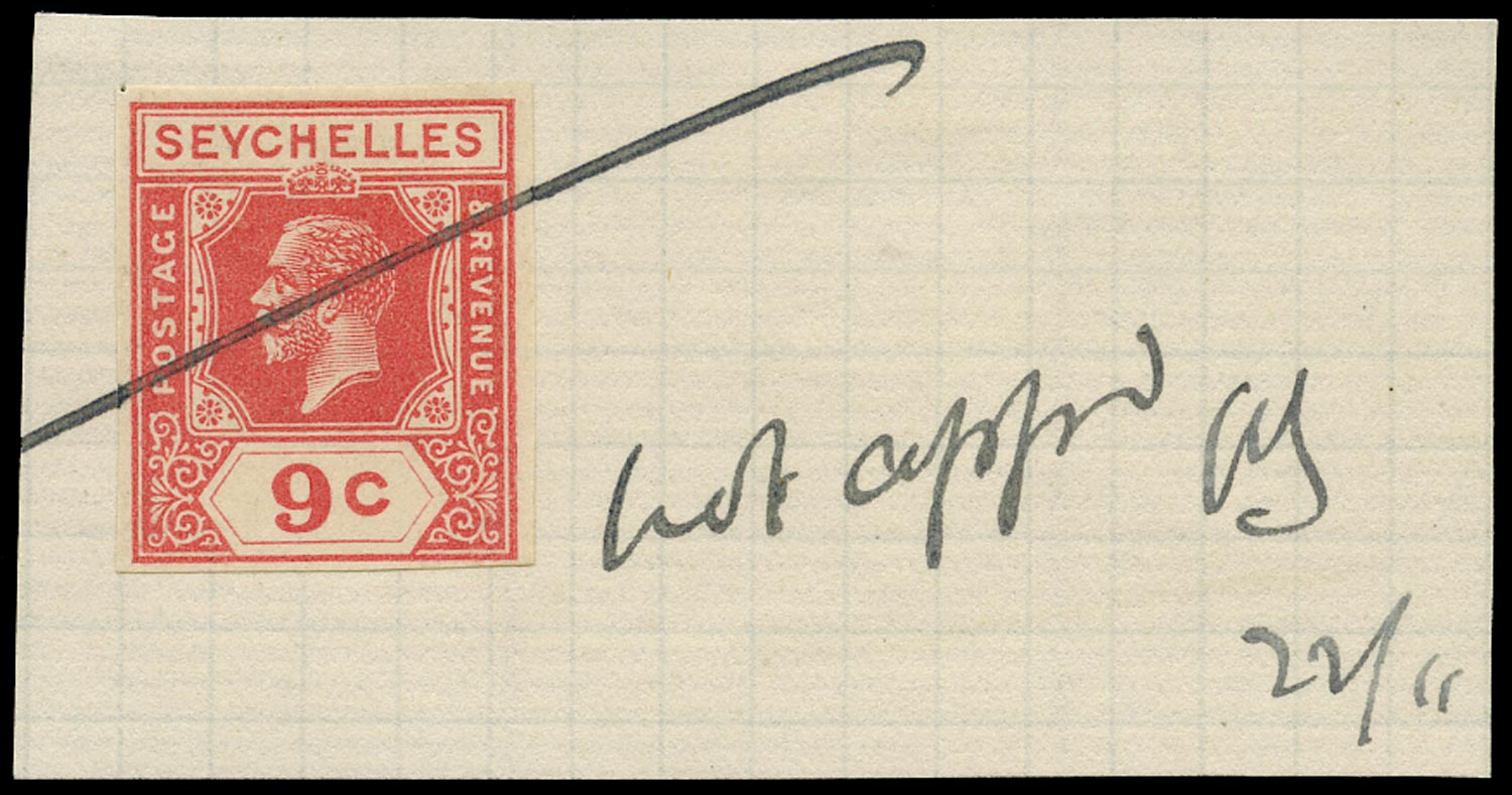 SEYCHELLES 1926  SG106 Colour Trial of KGV 9c imperforate in carmine