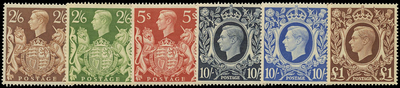 GB 1939  SG476/8c Mint - U/M o.g. set six