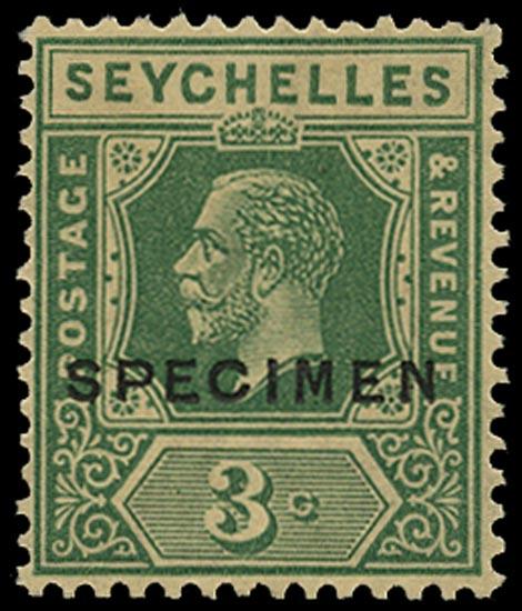 SEYCHELLES 1921  SG99s var Specimen KGV 3c green Script watermark 1927 re-issue