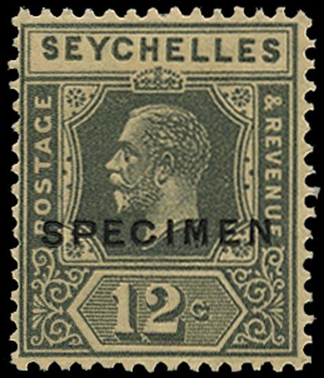 SEYCHELLES 1921  SG107s var Specimen KGV 12c grey die II Script watermark 1927 re-issue