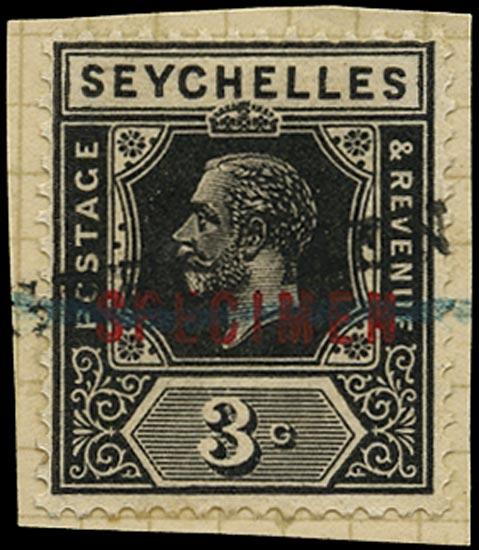 SEYCHELLES 1921  SG100s var Specimen KGV 3c black Script watermark ex Bechuanaland post office archive