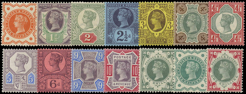 GB 1887  SG197/214 Mint - unmounted set of fourteen